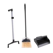 "Black Plastic Lobby Dust Pan with ""L"" Grip Handle, 32"" Height x 12"" Width x 11"" Depth"
