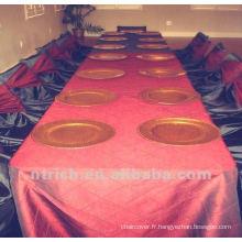 pintuck taffetas fleuri nappe, linge de table, nappe hôtel/banquet