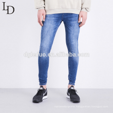 Wholesale cheap sky blue washed denim pants stretch mens skinny jeans
