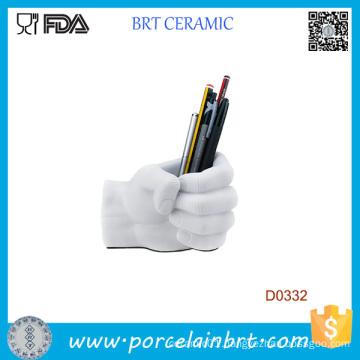 White Hand Shape Ceramic Pen Container