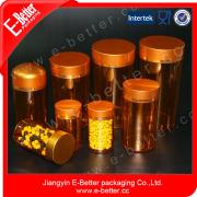 empty amber plastic capsule/pills/tablets bottle,pharmaceutical plastic container