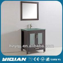 Bathroom Floor Standing Espresso Finish Brown Color Vanity Tempered Glass Top Single Sink Bathroom Vanity
