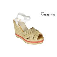 Sandales à talons en cuir tressé en espadrilles à talons féminins