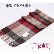 100% wool handmade winter scarf for man in check pattern