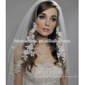 Wholesale custom made lace appliqued white wedding veil for bridal