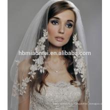 En gros fait sur commande en dentelle dentelle appliqued voile de mariage blanc pour la mariée