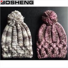 Sombrero del invierno del knit del ganchillo de las mujeres, manera Hant con POM