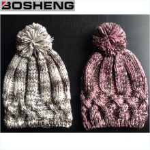 Mulheres Hat Crochet Knit Inverno, Moda Hant com POM