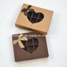 Personalizado caixa de papel de chocolate com inserir e clara em forma de coração janela / chocolate caixas de presente