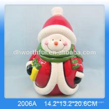Прекрасная керамическая банка печенья снеговика в большом размере