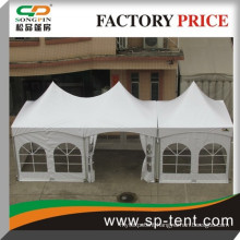 Hot sale twin high peak tension church style tent 5x10m in white PVC with church window