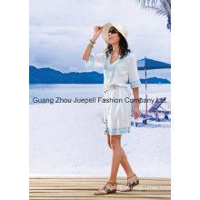 Belted mulheres bordadas vestido de moda