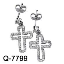 925 Sterling Silber Mikro Einstellung Kreuz Ohrring (Q-7799)