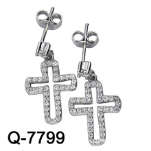 925 Sterling Silver Micro Setting Cross Earring (Q-7799)