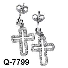 925 Стерлингового Серебра Микро-Установкой Креста Серьги (Вопрос-7799)