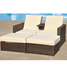 Outsunny 3-teilige PE Wicker Love Seat Lounge Outdoor Rattan Daybed