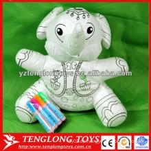 Juguete educativo juguete relleno elefante lavado para colorear