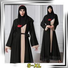 Premium polyester women fancy dress muslim kimono front lace muslim turkish abaya