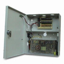 CCTV power supply, with 100 to 240V AC input, 12V DC/10A output, 9/18-way