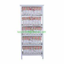 5 Drawers Storage Cabinet Organizer Cupboard Hallway Shabby Chic Vanity White