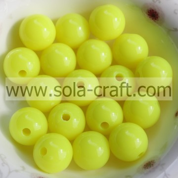 Yellow Color Sparking Acrylic Tiny Round Beads DIY Jewelry Finding Charms 6MM