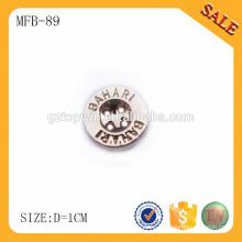 MFB89 Marca de fábrica de encargo logotipo deboss metal 4 agujeros que cosen el botón para la ropa