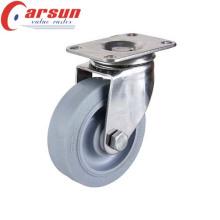 Rueda giratoria de servicio mediano de 125 mm con rueda TPR (acero inoxidable)