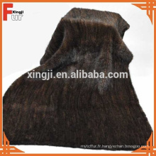 Couverture de fourrure de vison de couleur marron naturelle de qualité supérieure