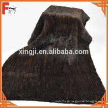 Cobertura de pele de vison de malha de cor marrom natural de qualidade superior