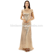 Custom made Sexy Girls Formal Party Gown short sleeve Gold Sequin mermaid evening dress 2017