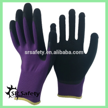 SRSAFETY 13 gauge knitted purple polyester coated black foam latex on palm for safety working gloves