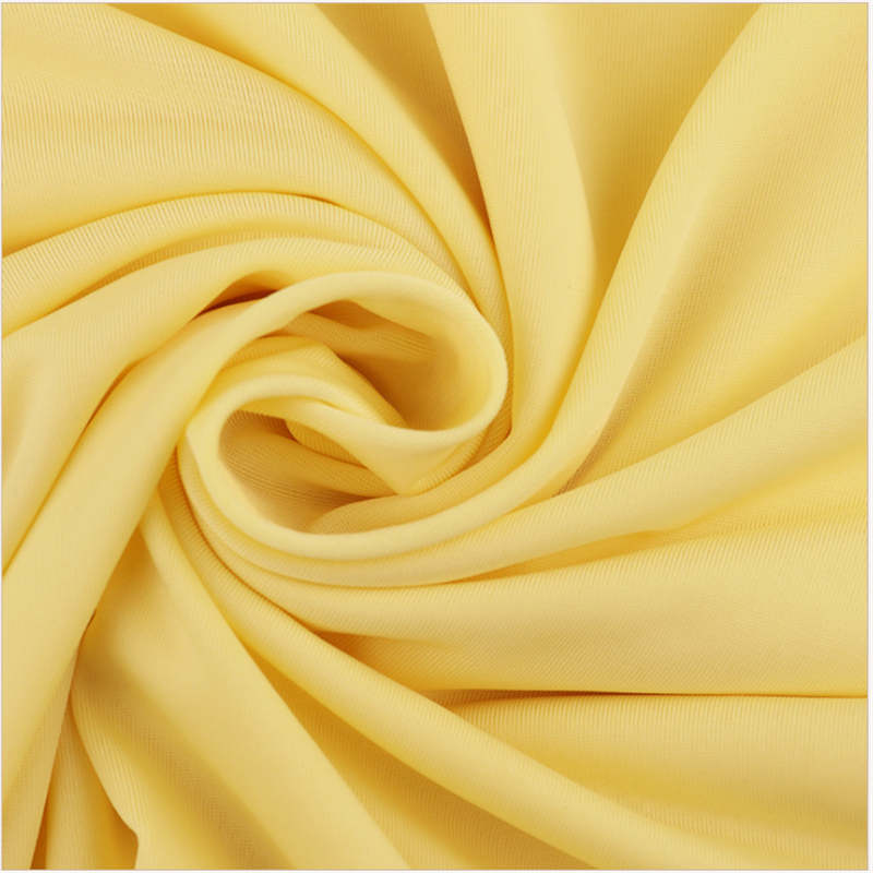Breathable Yellow Ice Silk Polyester Knitted Garment Fabrics 2