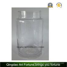 Vaso de vidrio claro huracán para la decoración del hogar