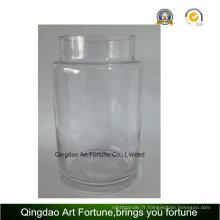 Vase d'ouragan en verre transparent pour décoration intérieure