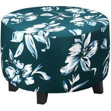Круглый чехол для дивана с цветочным принтом, спандекс, оттоманка, чехлы, чехол