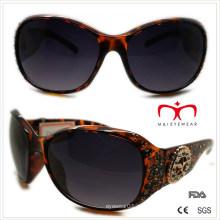 Óculos de sol de plástico para senhoras com decoração de strass e metal (wsp508368)