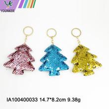 Pingente de saco de corrente de chaveiro de árvore de Natal com lantejoulas