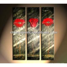 Atacado handmade moderno vermelho flor óleo pinturas