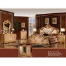 Антикварный набор мебели для спальни с классическими кровать и шкаф (W808)