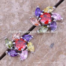 цветок звезда серебро серьги циркон латунь ювелирные изделия покрынные Родием ювелирные изделия-это ваш хороший выбор