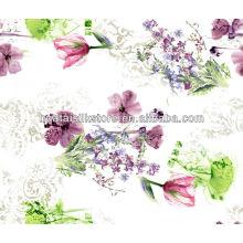 Low MOQ AZO Free Цветочные Pattern бабочки Сделать на заказ 100 шелковых тканей