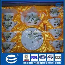 Горячий чай фарфора цены картины цветка сбывания, кофейник, чайник воды, комплект чая 17pcs
