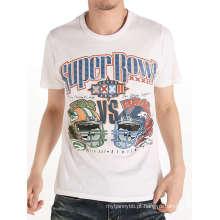 Impressão de tela de moda homens brancos de algodão personalizado atacado camiseta