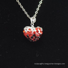 Wholesale Heart Shape New Arrival Gradient Color Red And Black Crystal Clay Shamballa With Silver Chains Necklace