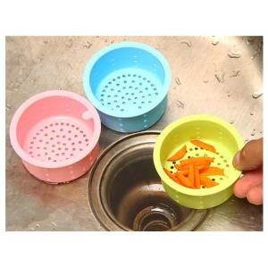 Candy Color Round Silicone Sink Drain Filter for Kitchen