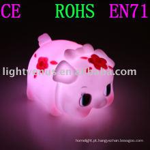 PVC soft gum novo design porco luz da noite lâmpada