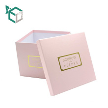 Guangzhou-Lieferanten-kundenspezifischer Logo-Quadrat-Form-Rosa Floras Pappverpackenkasten