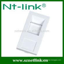 Soporte en blanco estándar francés para 1 Keystone Jack 45 x 22,5 mm cable de red placa frontal