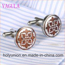 VAGULA Designer Redonda De Aço Inoxidável Red Wood Cufflinks 361