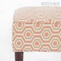 Inicio francés Otomana reposapiés tapizado de madera con reposapiés